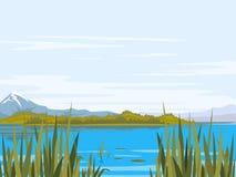 Het landschap van het meer Stock Foto