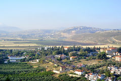 Het landschap van het Metuladorp, Israël Stock Afbeelding