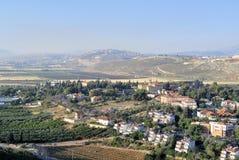Het landschap van het Metuladorp, Israël Stock Foto's