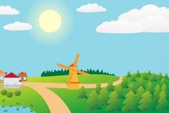 Het landschap van het platteland. Stock Afbeeldingen
