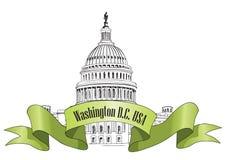 Het landschap van het Washington DCcapitool, de V.S. Hand Getrokken Potlood Vectorillustratie. Stock Fotografie
