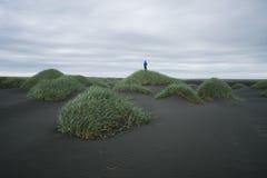 Het Landschap van IJsland met de donkere dag van zandduinen Royalty-vrije Stock Fotografie