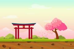 Het Landschap van Japan van de beeldverhaallente als Spelachtergrond Royalty-vrije Stock Afbeelding