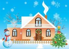 Het landschap van Kerstmis. Stock Foto's