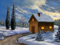 Het landschap van Kerstmis royalty-vrije illustratie