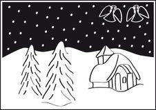 Het landschap van Kerstmis Stock Afbeeldingen