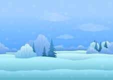 Het landschap van Kerstmis, de winterbos stock illustratie
