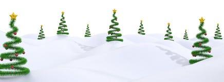 Het landschap van Kerstmis met moderne bomen Stock Fotografie