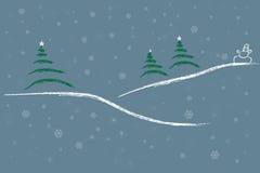 Het landschap van Kerstmis met sneeuw vector illustratie