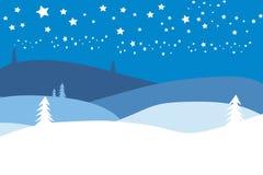 Het landschap van Kerstmis met sterren royalty-vrije illustratie