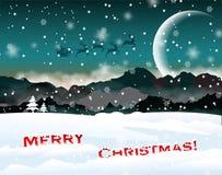 Het landschap van Kerstmis van de winter met santa Royalty-vrije Stock Foto