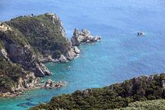 Het landschap van Korfu. Middellandse-Zeegebied, Griekenland. Royalty-vrije Stock Afbeelding