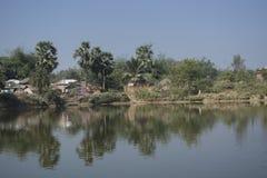 Het landschap van landelijk dorp van Bengalen in India is zo kalm en vreedzaam royalty-vrije stock afbeelding