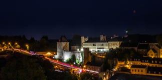 Het landschap van Luxemburg bij nacht, abstracte lichte sleep royalty-vrije stock foto's
