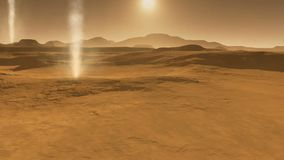 Het landschap van Mars, stofstorm met stofduivels op Mars stock video