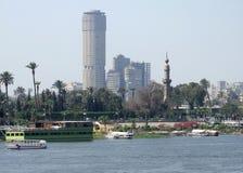 Het landschap van Nijl in Kaïro Stock Afbeeldingen