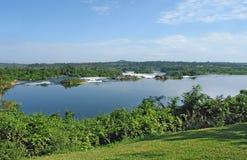 Het landschap van Nijl van de rivier dichtbij Jinja in Oeganda Royalty-vrije Stock Foto's