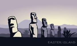 Het landschap van Pasen-eiland met de beroemde beeldhouwwerken bij schemer royalty-vrije illustratie