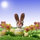 Het landschap van Pasen uit klei wordt gemaakt die Stock Foto
