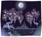 Het landschap van Romanitc op het overzees in de nacht. Royalty-vrije Stock Afbeeldingen