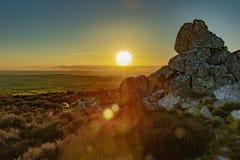Het landschap van Shropshire bij zonsondergang royalty-vrije stock foto
