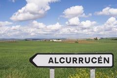 Het Landschap van Spanje Andalusia voorziet van wegwijzers Stock Foto's