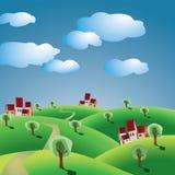 Het landschap van Toscanië Stock Illustratie