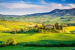 Het landschap van Toscanië bij zonsondergang Stock Foto