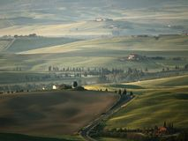 Het landschap van Toscanië dichtbij Pienza Stock Foto