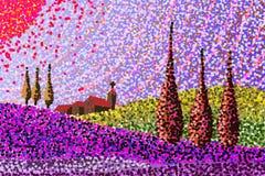 Het landschap van Toscanië - hand - gemaakte schets Stock Afbeelding