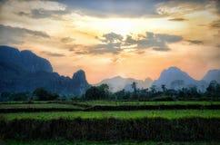 Het landschap van Vang vieng Laos Stock Fotografie
