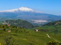 Het landschap van vulkaanEtna Stock Foto's