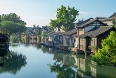 Het landschap van wuzhen, een historische toneelstad stock foto