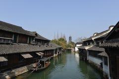 Het landschap van Wuzhen-stad in Zhejiang, China stock foto