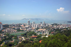 Het landschap van Xiamen, moderne stad in China stock foto's