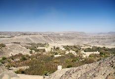 Het landschap van Yemen dichtbij sanaa stock afbeeldingen