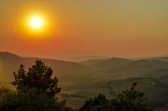 Het landschap van zonsondergangtoscanië, Chianti Royalty-vrije Stock Foto's