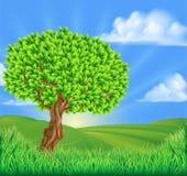 Het Landschapsachtergrond van boom Rolling Heuvels vector illustratie