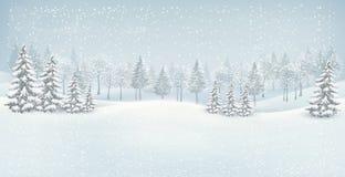 Het landschapsachtergrond van de Kerstmiswinter. Stock Foto