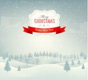 Het landschapsachtergrond van de Kerstmiswinter Stock Foto's