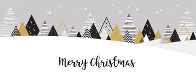 Het landschapsachtergrond van de Kerstmiswinter Abstracte vector Stock Foto