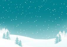 Het landschapsachtergrond van de nachtwinter met sneeuwgebied en sparren Royalty-vrije Stock Foto