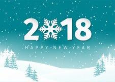 Het landschapsachtergrond van de nachtwinter met sneeuwgebied en sparren Het gelukkige ontwerp van de Nieuwjaar 2018 tekst met sn Stock Afbeelding