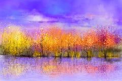 Het landschapsachtergrond van de olieverfschilderij kleurrijke herfst vector illustratie
