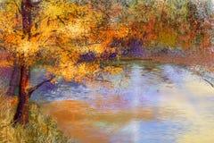 Het landschapsachtergrond van de olieverfschilderij kleurrijke herfst Stock Foto's
