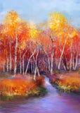 Het landschapsachtergrond van de olieverfschilderij kleurrijke herfst Stock Fotografie
