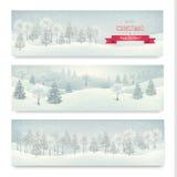 Het landschapsbanners van de Kerstmiswinter Stock Foto