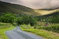 Het landschapsbeeld van het platteland overdwars aan bergen Stock Foto