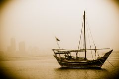 Het landschapsboot van Bahrein stock afbeeldingen