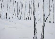 Het landschapsillustratie van de winter Stock Afbeelding